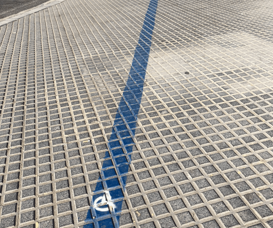 Follow the blue line to find the disabled access beach